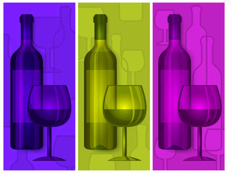 Bottles wine and glasses on color background, vector illustration Vector