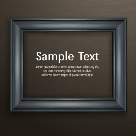 Cadre en bois noir pour photo sur fond sombre, illustration vectorielle Vecteurs