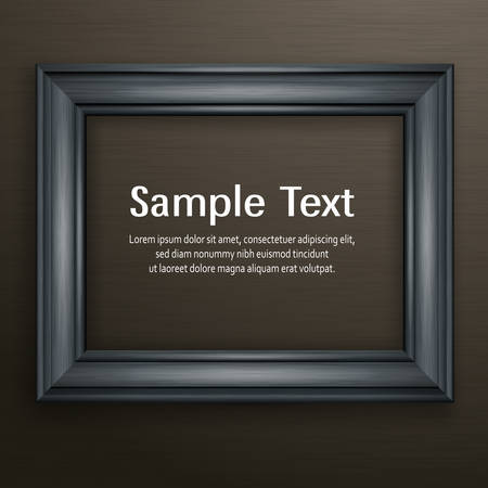 Wooden black frame for picture on dark background, vector illustration 向量圖像