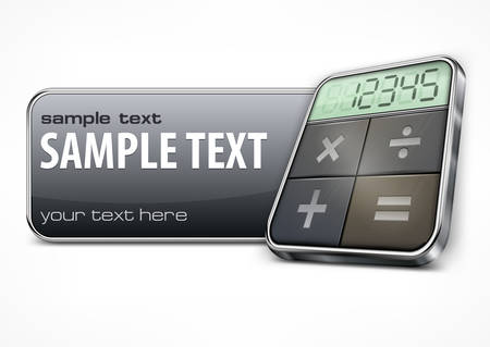 Promotion banner with calculator on white, business concept, vector illustration Vector