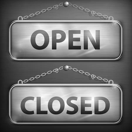 Iron sign hanging open closed with chain, vector illustration Vector