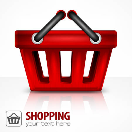 handles: Red shopping basket with handles on white, vector illustration Illustration