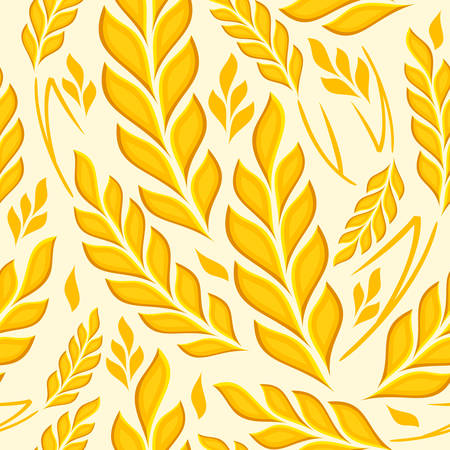 agrarian: Stylized background ears of wheat on white, vector illustration