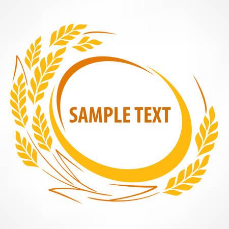 agrario: Estilizada espigas de trigo emblema en blanco y texto