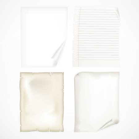 page curl: Set of different white sheet papers Illustration