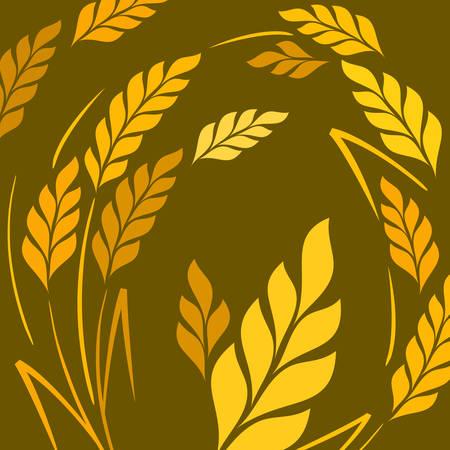 espiga de trigo: Estilizada orejas de trigo sobre fondo oscuro Vectores