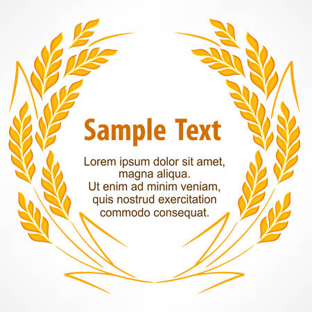 Wreath of stylized wheat ears on white and text, agricultural vector illustration Vector