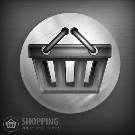 handles: Shopping basket with handles in round on dark, vector illustration