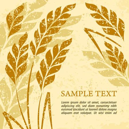 Gestileerde achtergrond oren van tarwe op grange, vector illustratie Stock Illustratie