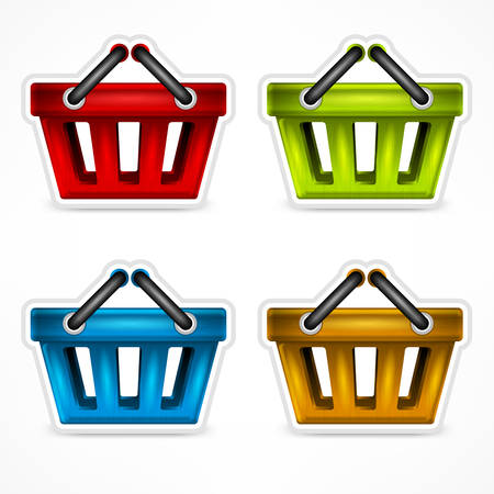 handles: Four colour shopping baskets with handles on white, illustration