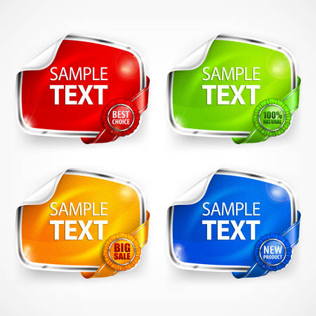 sticker vector: Four colored sticker with ribbon and award, vector illustration Illustration