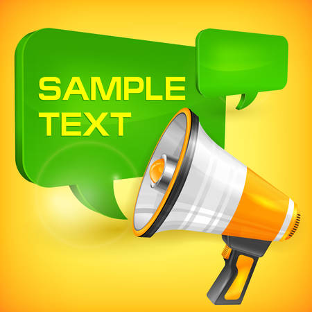 Megaphone and speech bubble with text, vector illustration Vector