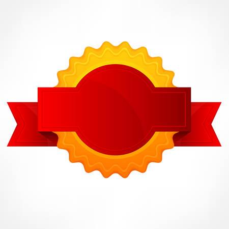 yellow ribbon: Golden round award symbol with red ribbon, vector illustration Illustration