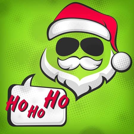 Santa Claus hipster style face on green, vector illustration Vector