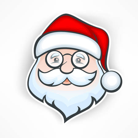 Santa Claus cheerful face on white, vector illustration
