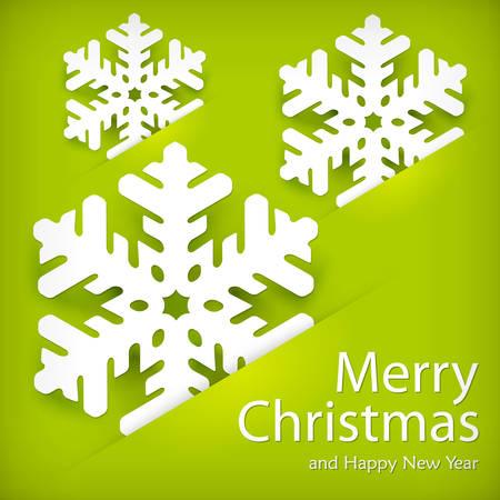 salumi affettati: Natale carta fiocco di neve applique sul verde e testo, illustrazione vettoriale Vettoriali