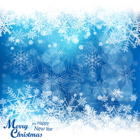 december background: Christmas snowflake pattern in blue & text, winter design Illustration