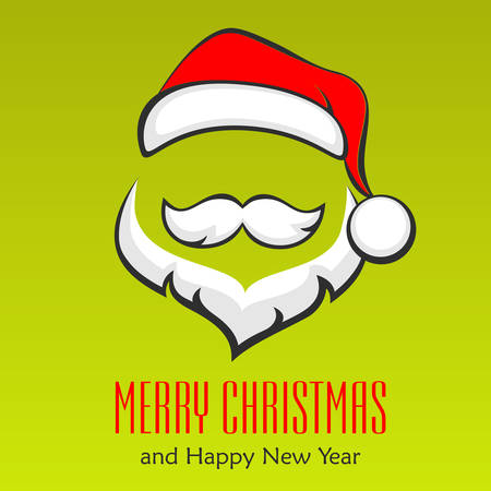 red hat: Santa Claus hipster style face on green, vector illustration Illustration