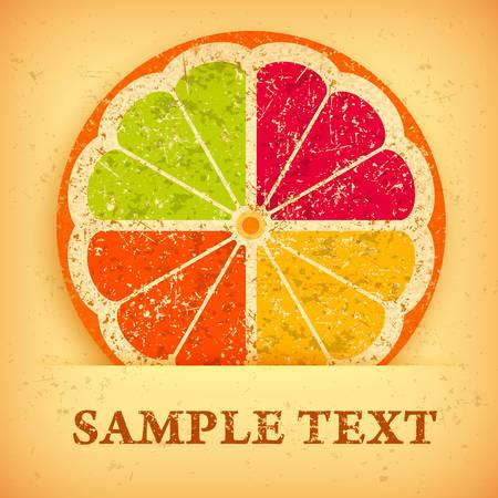 Citrus Fruit Slices on grange yellow & text, vector illustration