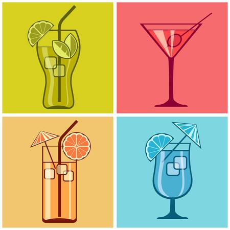 Quattro cocktail sul colore di sfondo diverso, illustrazione vettoriale Archivio Fotografico - 33155750