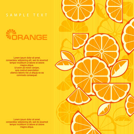 Citrus Fruit Slices background in yellow & text, vector illustration Vector