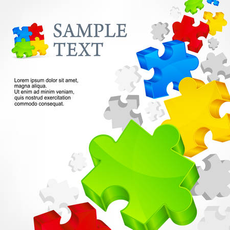 Color puzzles, info graphic elements & text, vector illustration Vector
