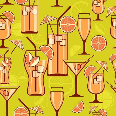 orange juice glass: Set of cocktails on green, seamless pattern, vector illustration Illustration