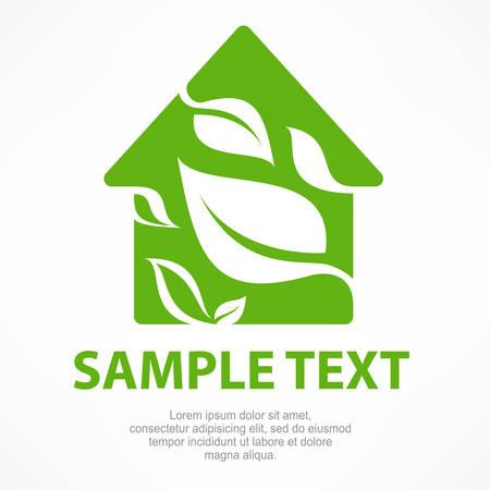 leaf logo: House symbol with green leaf, vector illustration