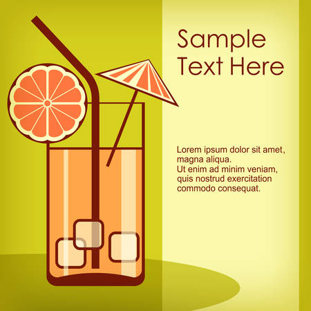 aperitif: Cocktail in glass with ice on green & text, vector illustration Illustration