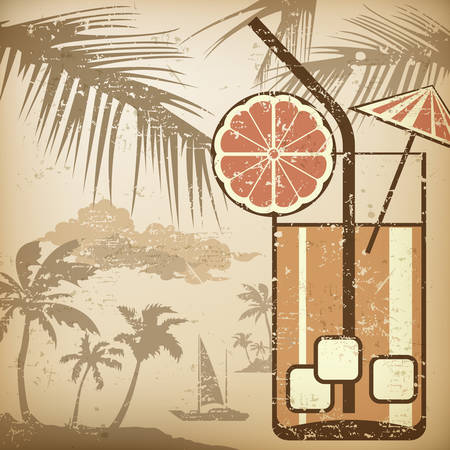 aperitif: Cocktail party poster in retro style, vector illustration