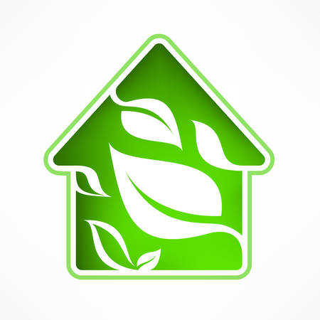 House symbol with green leaf, vector illustration