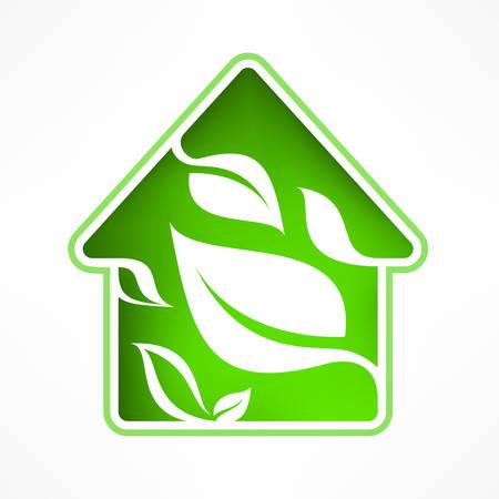 Symbool van het huis met groen blad, vector illustratie Stock Illustratie