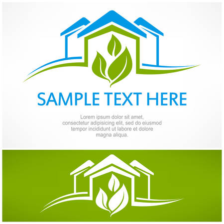 logos: House sign with green leaf, vector illustration