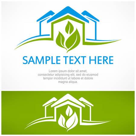 logo batiment: signe de la maison avec la feuille verte, illustration vectorielle