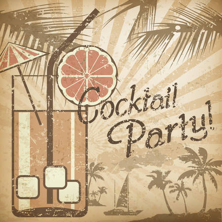 aperitif: Cocktail party poster in retro style & text, vector illustration Illustration