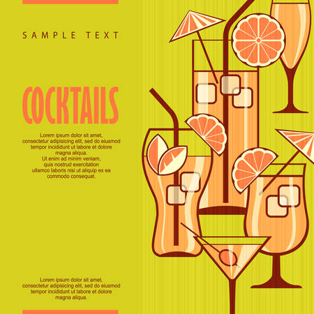 champagne orange: Set of cocktails on green & text