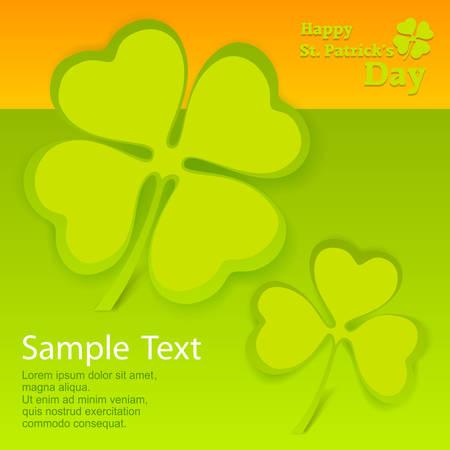 fourleafed: Clover leaf card in green & orange with text, vector illustration for St. Patricks day Illustration