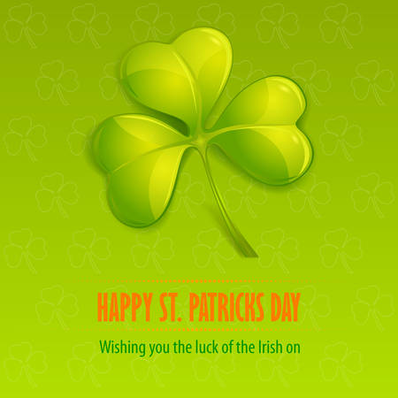 three leaf clover: Green clover on green & text, vector illustration for St. Patricks day Illustration