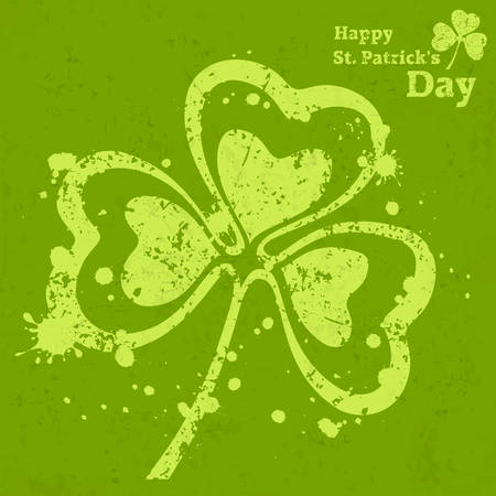 three leaf clover: Three leaf clover grunge on green illustration for St. Patricks day