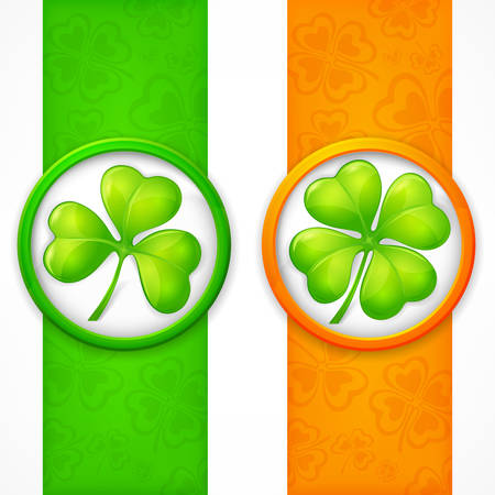 leafed: Clover leaf banners in green & orange, vector illustration for St. Patricks day