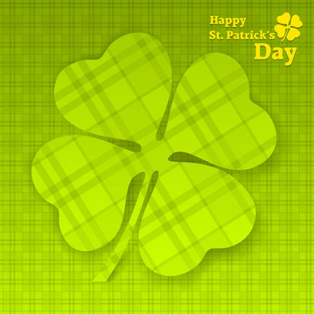 leafed: Four leaf clover tartan on green illustration for St. Patricks day Illustration