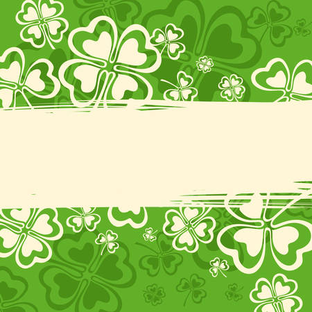 leafed: Clover leaf grunge patten in green illustration for St. Patricks day