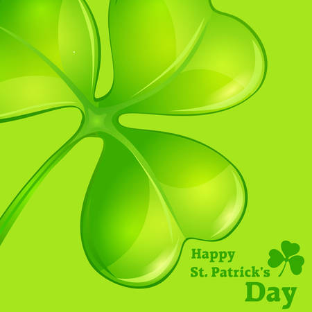 three leaf clover: Green clover on green & text illustration for St. Patricks day