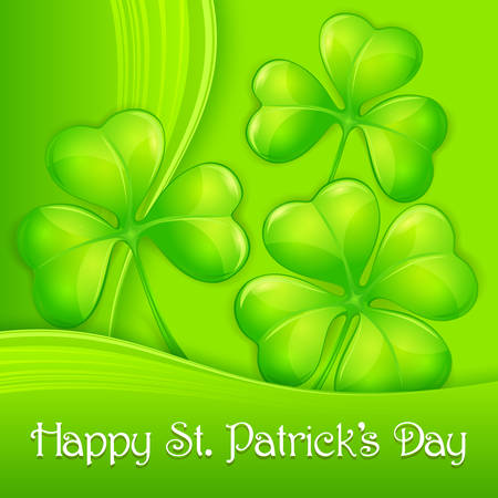 leafed: Clover leaf background in green & text illustration for St. Patricks day