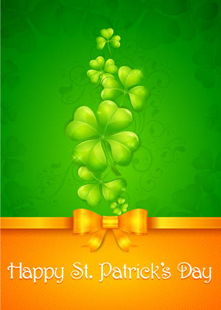 leafed: Clover leaf card in green & orange with text, vector illustration for St. Patricks day Illustration