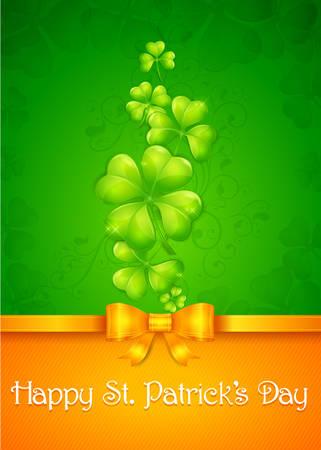 four leafed clover: Tarjeta de la hoja del tr�bol en verde y naranja con el texto, ilustraci�n vectorial para el d�a de San Patricio