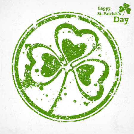 three leaf clover: Three leaf clover grunge in round illustration for St. Patricks day