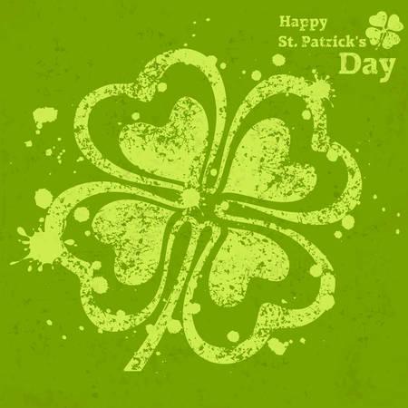 fourleafed: Four leaf clover grunge on green, vector illustration for St. Patricks day