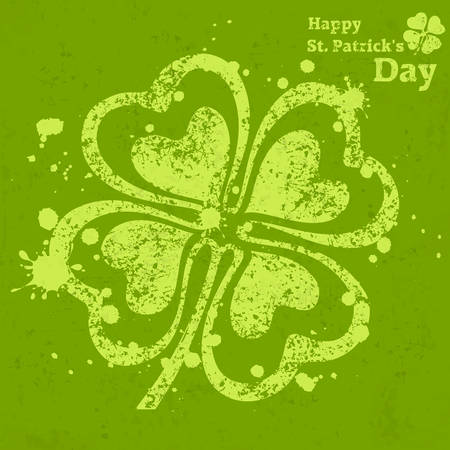 Four leaf clover grunge on green, vector illustration for St. Patricks day