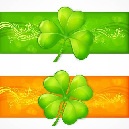 four leafed clover: Banderas hoja del tr�bol en verde y naranja, ilustraci�n vectorial para el d�a de San Patricio Vectores